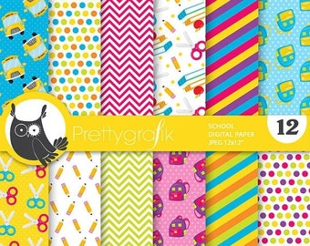 80% OFF SALE Monster school digital paper, commercial use, scrapbook papers, background chevron, stripes - PS743