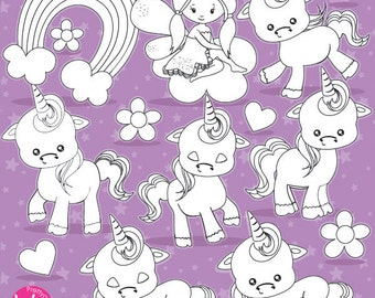 80% OFF SALE Baby unicorn digital stamp commercial use, vector graphics, digital stamp  - DS937