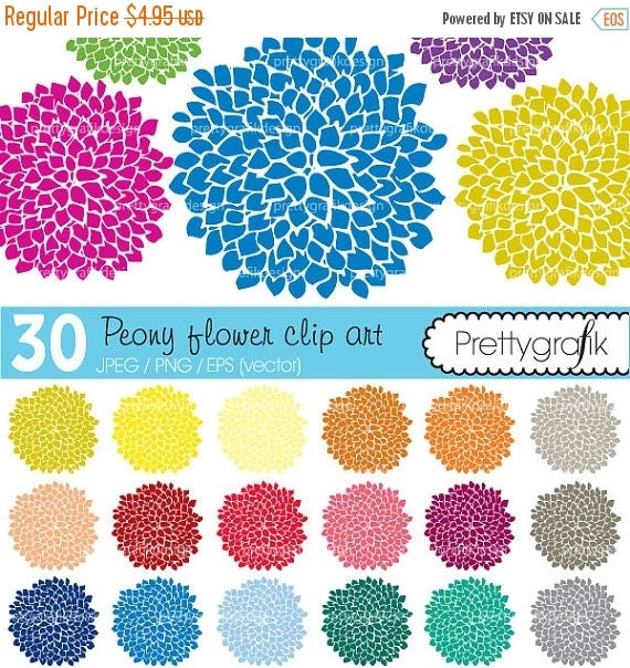 80% OFF SALE 30 peony flower abstract clipart commercial use, vector graphics, digital clip art, digital images - CL464