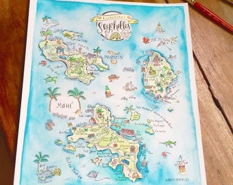 Illustrated Hand Painted Watercolor Map of Seychelles