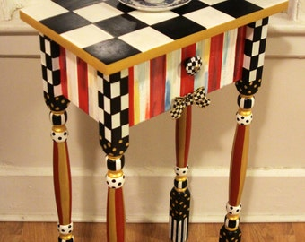 Whimsical Candy Striped Nightstand / Side / accent / end table with Checkered Ribbon.