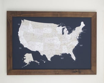 Travel Map, United States Map, Navy US Map, Anniversary Gift, Push Pin Travel Map, US Map Push Pin, Husband Gift, Map of the World, Map Art