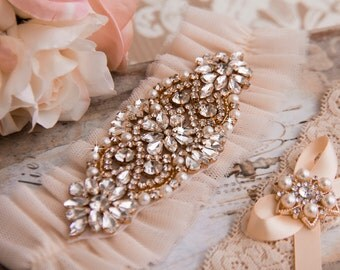 Blush Wedding Garter Set, Blush Bridal Garter Set, Blush Tulle Garter, Tulle Wedding Garter, Blush Garter Set, Personalized Garter