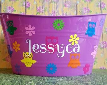 Personalized Basket, Toy Storage Bucket,Plastic Oval Easter Tub , Owl Theme