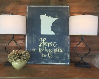 Minnesota pride |  State Pride | hand painted sign | home decor | gift | home is the best place to be | farmhouse chic | birthday christmas