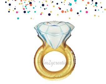 "37"" Wedding Ring Balloon | Engagement Ring Balloon | Diamond Ring Balloon | Bachelorette Party Balloon | Bridal Shower Balloon | Decorations"
