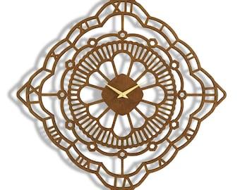 "22""x 22"" Oak Moss Wall Clock. Large wall clock, Roman Numerals, Laser Cut, modern, Boho Chic, decorative, functional art"