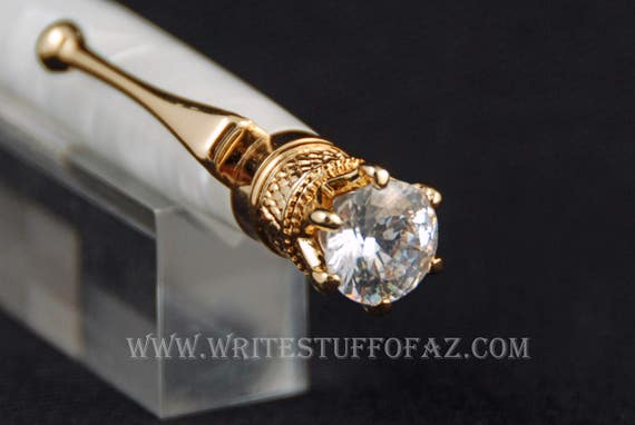 Pearl White Twist Pen, Adorned with Swarovski Crystal and Finished in 24k Gold