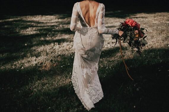 Lisa Lace Bohemian Wedding Dress Cotton With OPEN BACK