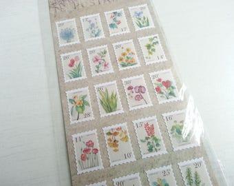 Stamp Flower Paper Sticker - 1 Sheet