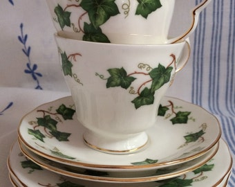 Pair of Colclough Ivy Leaf pattern trio