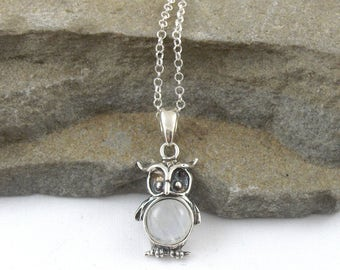 Sterling Silver Owl With Rainbow Moonstone Pendant Necklace, Charm Necklace, Owl Pendant, Mothers Day Gift, Gift For Her, Birthday Gift