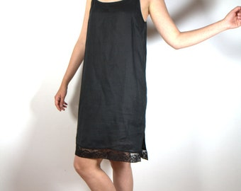 Black Linen Nightgown, Slip Nightdress, Women's Sleepwear,  French Pure Linen, Calais Lace, Gift for her