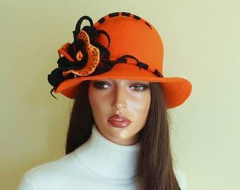 Orange hat with brooch Orange felted hat  Orange felt hat   Elegant hat