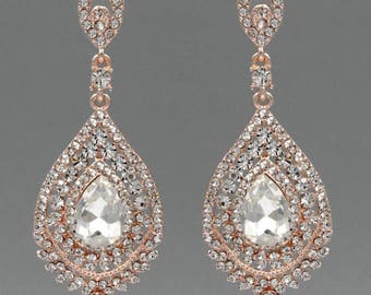 ROSE GOLD Plated Clear Crystal Rhinestone Dangle Wedding Prom gauges plugs tunnels earrings 6g 4g 2g 0g 00g  4mm 5mm 6mm 8mm 10mm