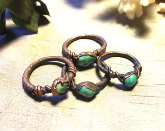 Raw turquoise Ring - Raw Copper Ring - Raw Crystal Ring - Electroformed Ring - Copper Ring - Healing Crystal Jewelry