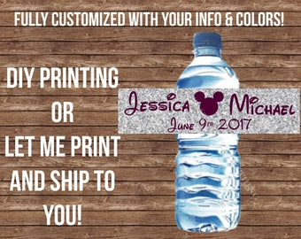 Water bottle Label- Fully customized for your event- DIY printing or Let me print & Ship! --- Disney wedding silver plum wedding waterbottle