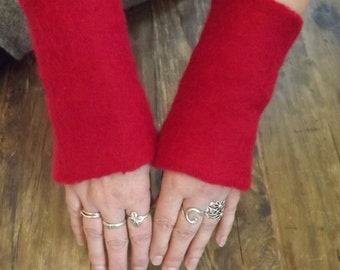 Felted fingerless gloves, felted red mittens, felted arm warmers