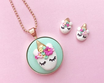 Unicorn Face earrings - beautiful handmade polymer clay jewellery by Clay & Clasp