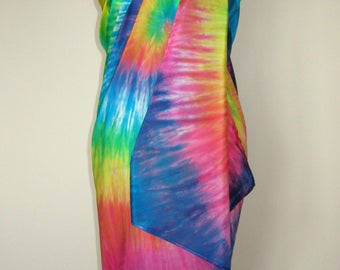 Pure Silk Sarong Pareo Scarf Shawl. Beach Cover Up - Rainbow, Hand Dyed.