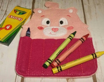 Pink Heart Carebear Crayon Holder, Handmade Crayon Carrier, Crayola, Coloring, Childrens, Creative Toy, Christmas, Art, Party Favor