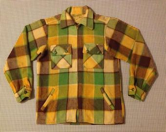 1960's, wool, zip front, shirt-jacket, in avocado, mustard, and brown plaid, Men's size Medium