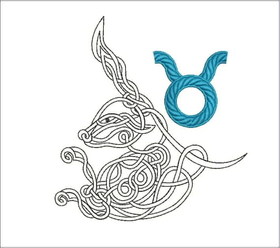 Zodiac sign taurus machine embroidery design