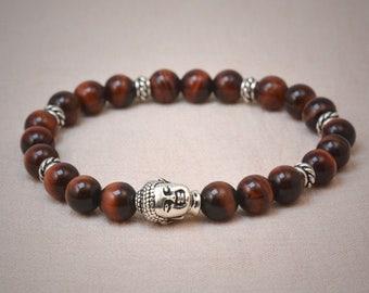A grade red tigereye mala style bracelet - silver buddha head