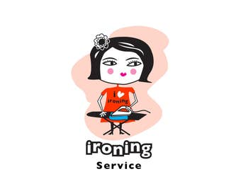 Ironing logo, Ironing lady logo, ironing services logo, custom logo, business logo, instant logo, instant logo download.
