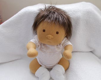 Large Newborn Baby Boy handmade Cloth Doll Waldorf Inspired Dark Brown Mongolian Hair and Brown Embroidered Eyes stuffed Christmas toddler