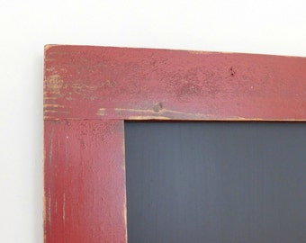 RED CHALK BOARD - Large Framed Chalkboard - Kitchen Chalk Board - Farmhouse, Rustic - Shown in Vintage Red - 24 x 36 - More Colors Available