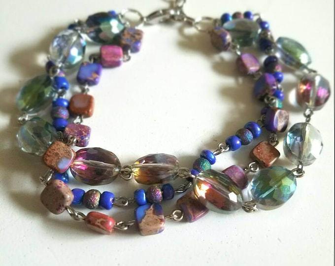 Purple Blue Crystal Multicolored Opal Galaxy Bracelet
