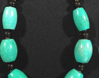 Large barrel turquoise beads necklace 40/25mm barrel beads