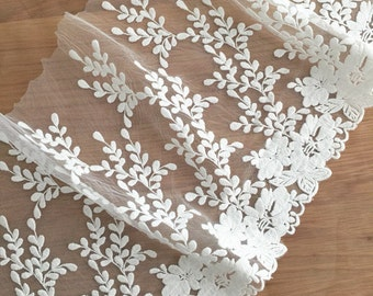 Stunning Cotton Lace Tim, Vintage Style White Embroidered Fabric Trim Lace 2 yards