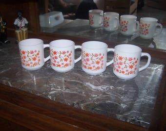 4 mugs SCANIA opaline ARCOPAL Vintage 60s/70s