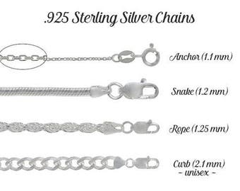 925 Sterling Silver Chain | Anchor, Rope, Snake and Curb Chains | 16, 18, 20, 22, 24, 30 & 36 inches | Finished Chain | Womens + Mens Chains