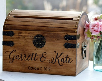 Wooden Card Box, Rustic Card Box With Slot, Bridal Shower Card Holder, Wedding Keepsake Chest, Custom Keepsake Trunk, Shabby Chic Wedding