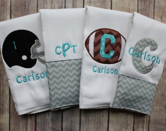 Baby Boy Monogrammed Burp Cloth Set, Football Burp Cloth Set, Football Baby Gift, Personalized Burp Cloth Set, Baby Shower Gift, Baby boy
