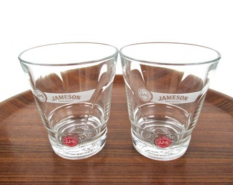 Set Of 2 Jameson Red Label Glasses, John Jameson And Son Irish Whiskey Glass Set, Vintage Lowball Barware