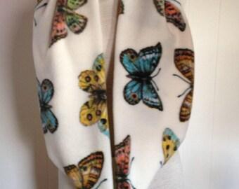 Butterfly  Print Fleece Neck Warmer Infinity Scarf