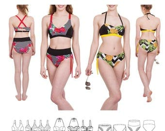 Jalie 3671 Gigi Bikini in Halter, Over Shoulder & X Back Styles Tops and Bottoms - Sewing Pattern for Women's and Girls