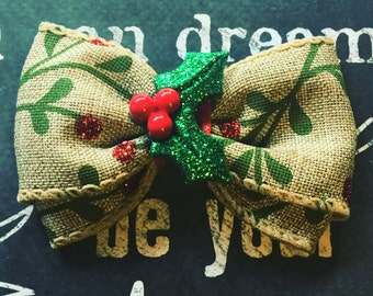 """Bows for Dogs or Girls - 2"""" Holiday Holly Mini Bow - Holly - Holiday Bows - Dog Bows - Christmas Bows - Burlap - Bows - Bows for Girls"""