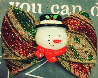 """Bows for Dogs or Girls - 2"""" Frosty the Snowman Mini Bow - Holiday Bows - Dog Bows - Christmas Bows - Red Bows - Bows - Bows for Girls"""