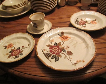 Four  5 piece Setting of Mikasa  Garden Club Imperial garden  Dinnerware * Dinner Plate, 8.5 in.Bowl, 8 in. Dessert plate, Cup and Saucer