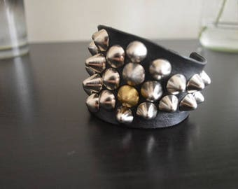 Distressed Style Studded Cuff. Vintage 77 Punk Cone Studs Couture Deathrock Leather Bracer.