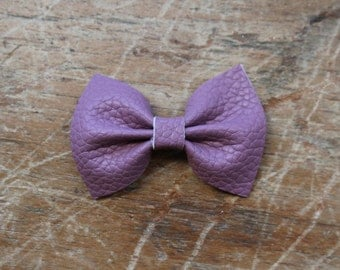 heather purple leather bow hair clips