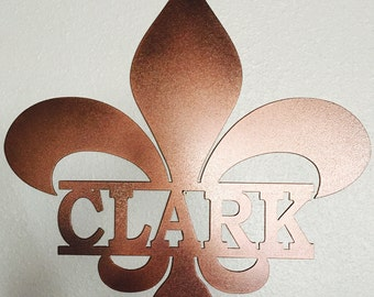 Louisiana- Fleur De Lis with Last Name Metal Sign