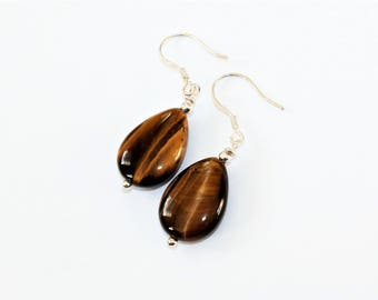 Tigers Eye Earrings  - Sterling Silver Earwires - Boho earrings - Cottage Chic