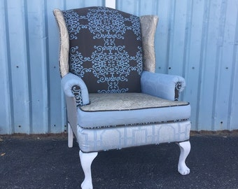 "Wingback Accent Arm Chair Vintage Upcycled Upholstered - ""The Blue One"""