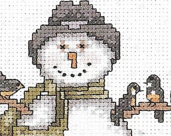 Weekenders Counted Cross Stitch Kit For The Birds New In Package Snowy Winter Charted Design Whimsical White Snowman Janet Oxford Yearby